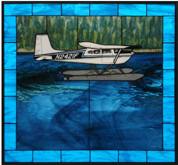 Cessna 180 floatplane Stained Glass
