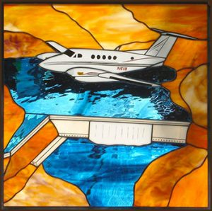 King Air 200 Over Grand Coulee Dam - Stained Glass