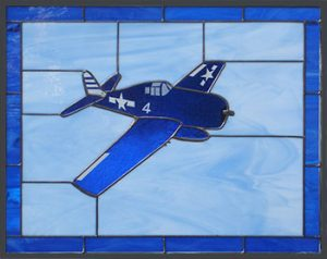 F6F from USS Randolph Stained Glass