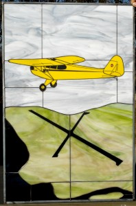 Piper Cub over Shawano Stained Glass