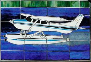 Cessna 172, Floats Stained Glass