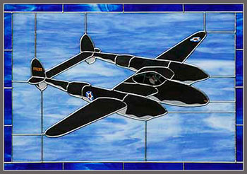 """P-38 – """"Glacier Girl"""" Stained Glass"""